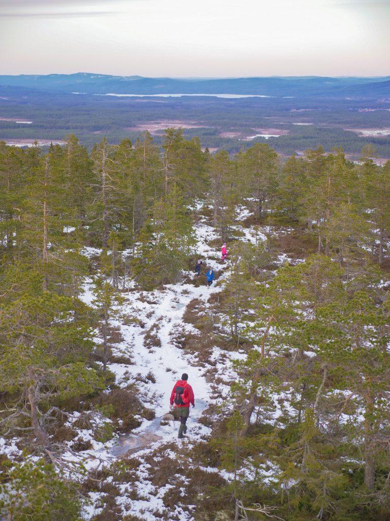 Utsikt över vandrare från Skalets topp.